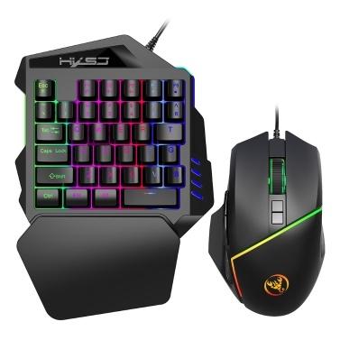HXSJ A876 + V100 Tastatur und Maus Combo Wired Gaming Mouse + Einhand-Spieletastatur mit einstellbarer DPI und Atemlicht