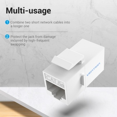 Vention VDD-B07-W RJ45 Connector Cat.5e UTP Keystone Jack Coupler for Network Cable Extension White 1 Piece