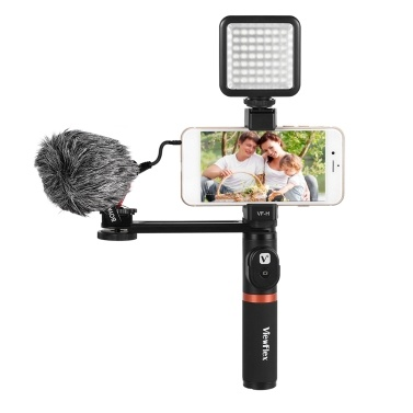 Smartphone Video Rig Hand Grip with BT Remote Control + Mini Microphone + Dimmable LED Light for iPhone 6s plus for Samsung Galaxy S8+ S8 Note 3 Huawei