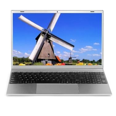 F18 15.6 inch Laptop Intel Celeron J4115 Processor 8GB DDR3 RAM 128GB M.2 SSD Portable Business Office Laptop Silver EU Plug