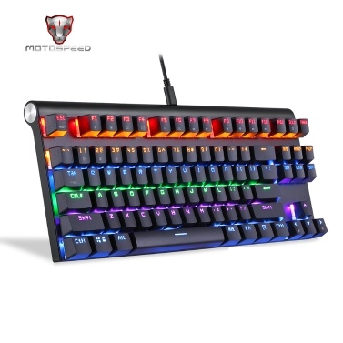 Motospeed Bluetooth Mechanical Keyboard Wired USB Black Quick Respond Ergonomics Design PC Gaming Keyboard