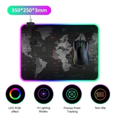 Tapis de souris à LED RGB 14 modes d'éclairage Gaming Extra Large doux étendu Tapis de souris antidérapant pour PC portable