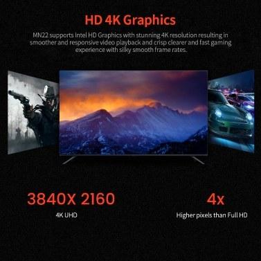 T-bao MN22 Mini PC AMD Ryzen 3 2200U 4GB RAM 128GB M.2 NVNE SSD Radeon Vega 3 Graphics Mini PC for Home Office EU Plug