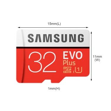 Samsung Memory 32GB EVO Plus MicroSDHC 80MB/s U1 Class 10 TF Flash Memory Card