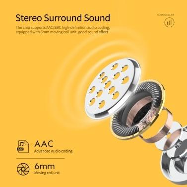 QCY T9S TWS Kopfhörer Bluetooth 5.0 Drahtloser Kopfhörer In-Ear Sport Headset Stereo-Ohrhörer mit Ladekoffer Schwarz