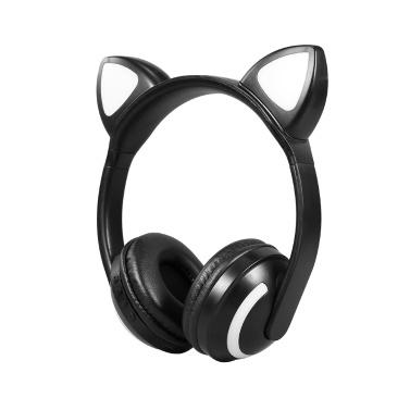 LED Katzenohr ZW-19 Headset RGB 7-Farben-Leuchten Kopfhörer mit Geräuschunterdrückung BT 4.2 Kinder-Kopfhörer unterstützt 3,5-mm-Stecker