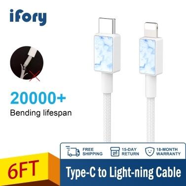 Telefon aufladen iFory Lighting-Kabel Schweres Nylon-Geflecht USB A zum Lighting-Ladekabel Robustes Kabel 20000+ Lebensdauer