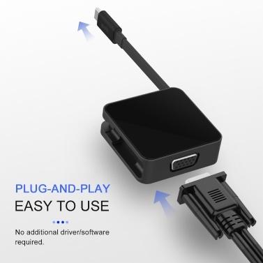 iFory-Adapter USB C / MiniDP mit HD-MI / VGA-Display-Projektor Kompatibel mit tragbaren Computertelefonen