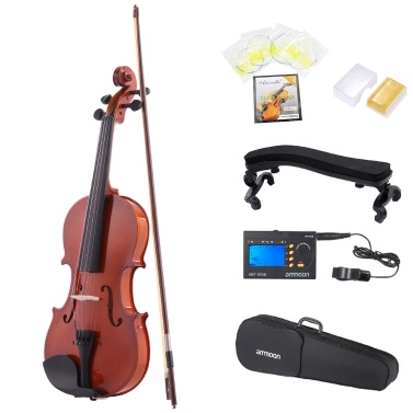 ammoon 3/4 Natural Acoustic Violin Fiddle Spruce Steel String Case Arbor Bow Music Lovers Beginners + ammoon AMT-01GB Multifunctional 3in1 Digital Tuner + Metronome + Tone Generator Chromatic Guitar Bass Violin + 4pcs Set Violin Strings + Violin Shoulder Rest