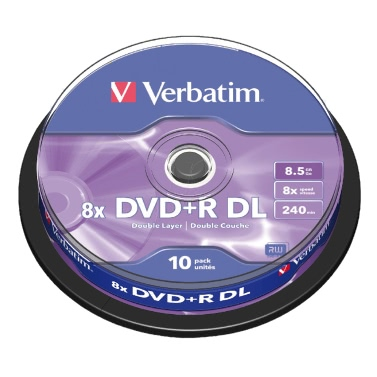 Verbatim DVD + R DL 8.5GB 240min 10Pk Spindle 8x Double Dual-Layer-Media Disc Branded Compact Write Once Data Storage DVD 43666