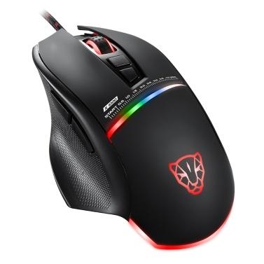 Motospeed V10 Black USB Gaming Wired Mouse Ergonomic Gamer PC Mouse with LED Breathing Lamp