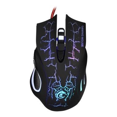 USB Wired Optical Gaming Mouse Bunte Light Gaming Mouse 6-Tasten-Maus mit fünf einstellbaren DPI für Desktop-Laptop Schwarz