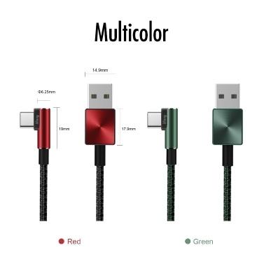 iFory USB C Kabel 6 Fuß / 1,8 Meter 90 Grad L 3.0 Schnellladung Micro USB A zu USB-C Nylon geflochtenes Kabel Unbreakable Gaming Charging