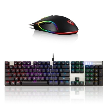 Motospeed V30 Wired Optical USB Gaming Mouse + Inflictor CK104 Blue Switches Tactile Mechanical Esport Gaming Game Keyboard