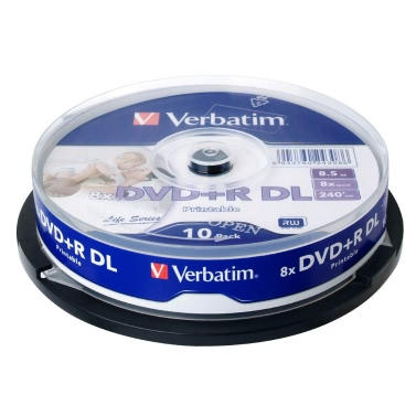 Verbatim DVD+R DL 8.5GB 240min 8X 10Pk Spindle White Wide Inkjet Printable Recordable Media Disc Double Dual Layer Blank Compact Write Once Data Storage DVD 64308