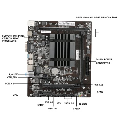 Colorful C.Q1900M all Solid State V20 Motherboard Mainboard Systemboard for Quad-Core Celeron J1900 Processors Integrated HD Graphics 4000 mATX DDR3