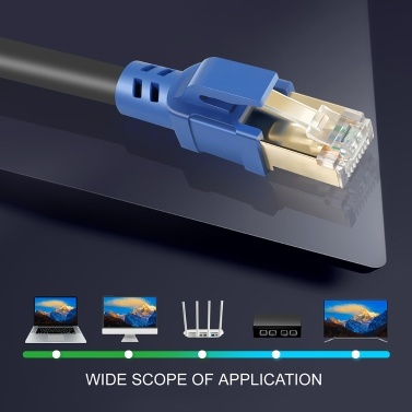 Hohe Qualität 2000MHz 40Gbps Schnelle Übertragungsstabilität CAT8 Reines Kupfer Laptop Netzwerkkabel
