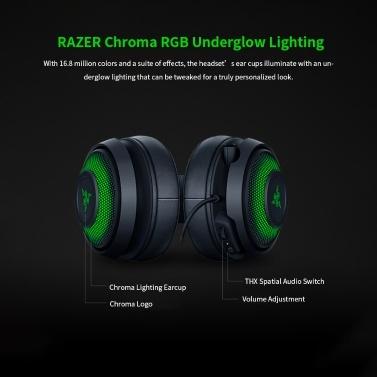 Razer Kraken Ultimatives RGB-USB-Gaming-Headset THX 7.1 Räumlicher Surround-Sound Chroma-RGB-Beleuchtung Versenkbares aktives Noise Cancelling-Mikrofon Aluminium- und Stahlrahmen