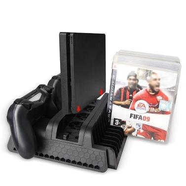 Game Console Stand Support Base Kühlventilator Cooler Controller Ladegeräte Spiele CD Disc Holder Rack für PS4 / Pro / Slim
