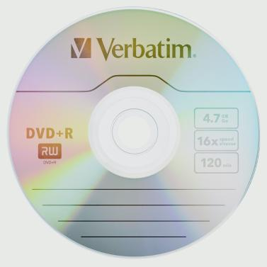 Verbatim DVD+R 4.7GB 16X 50PK Spindle Branded Recordable Media Disc Compact Write DVD 95037