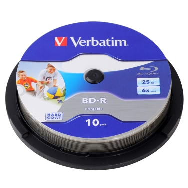Verbatim BD-R 25GB 6X Wide White Inkjet Printable 10PK Spindle Blu-ray Recordable Media Disc Blank Compact-Write-Once Data Storage 64099