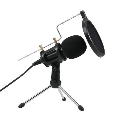 Профессиональный конденсаторный микрофон 3,5 мм подкаст Вокальные микрофоны для записи Home Studio
