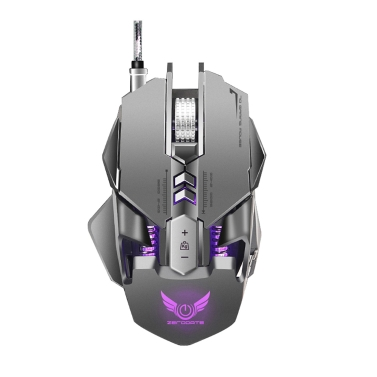 ZERODATE X300GY USB Wired Competitive Gaming Mouse Mechanical Game Mice Adjustable 4000DPI 7 Programmable Buttons LED Lighting Effect