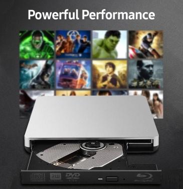 USB3.0 External Blu-Ray Drive External DVD Recorder BD-RE CD/DVD RW Writer Portable Blu-Ray Burner Plug and Play for PC Laptop