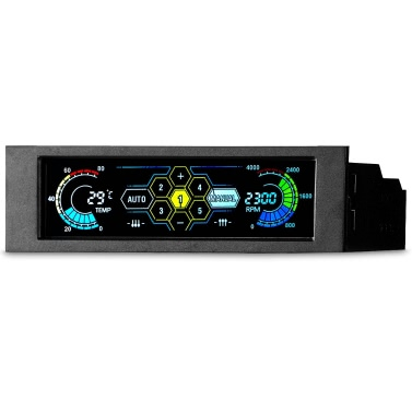 """Sunshine-tipway 5.25"""" 5 Channel Touchscreen Fan Controller Temperature Monitor Automatic Speed Control LCD Front Panel for Computer Cooling Fans"""