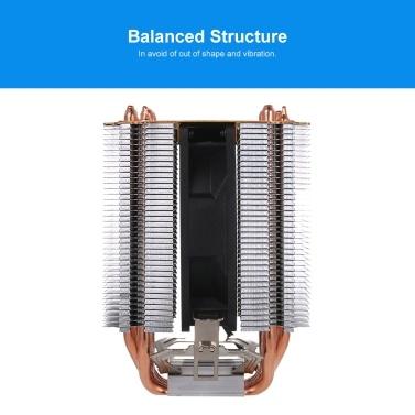 Hydraulische CPU-Kühler-Heatpipe-Lüfter Leiser Kühlkörper für Intel Core AMD Sempron-Plattform mit blauem Licht