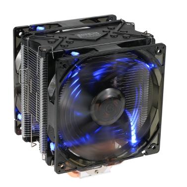 PCCOOLER 5 Heatpipes Radiator Ruhige 4pin CPU Kühler Kühlkörper Lüfter Kühlung mit Dual 120mm LED Lüfter für Desktop Computer