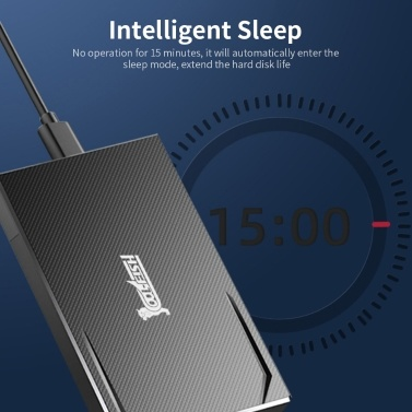 cool-fish K801 Portable Hard Disk Case 2.5 inch SATA HDD Enclosure High-speed Type-C Interface Tool-free Design HDD Case