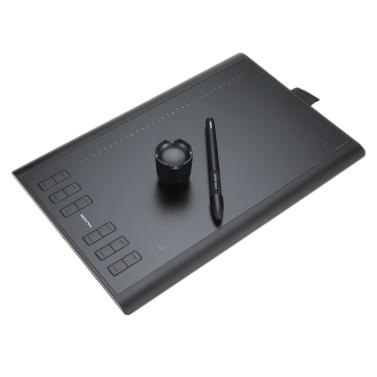 Huion Grafiktablett Micro USB New 1060PLUS mit integrierter 8G Speicherkarte 12 Express-Tasten Digital Painting wiederaufladbare Stift