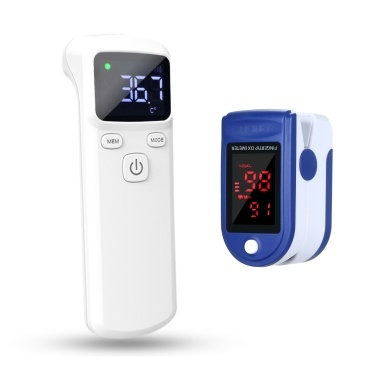Non-contacting Touchless IR Infrared Sensor Forehead Body Thermometer with Fingertip Clip Pulse Oximeter L-ED Display Mini SpO2 Monitor Oxygen Saturation Monitor