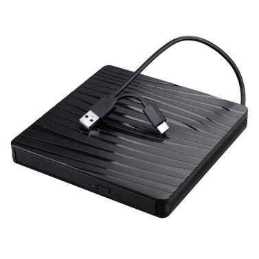 USB3.0+Type-C Dual-port Portable External Optical Drive CD/DVD Player Ultra-thin External DVD-ROM Drive for Windows/Mac OS