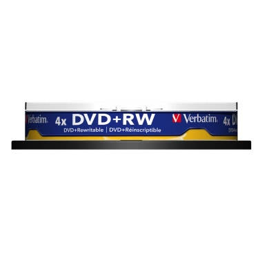 Verbatim DVD+RW 4.7GB 120min 10pk Spindle 4x Branded Rewritable Disc Media Compact Data Storage DVD 43488