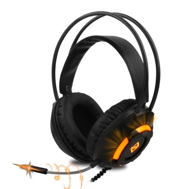 Ajazz AX120 Luminous Headset 3.5mm Audio USB Connector 50mm Surround Bass Sound Music Headphone Omnidirectional Microphone Soft Breathable Earmuffs Earphones for Computer Office Gaming