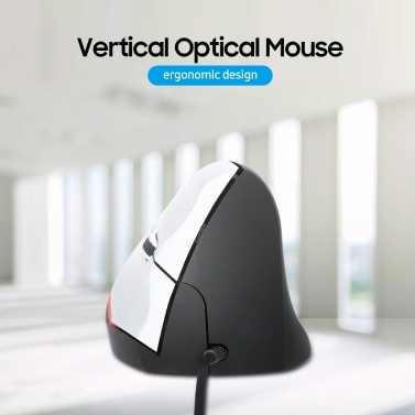 Vertical Wired Mouse Ergonomic Optical 3 Key Gaming Office Mouse for PC /Laptop Black