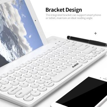 Ajazz 320i Wireless Keyboard 2.4GHz Wireless BT Dual-mode Keyboard Ergonomic Keyboard 79 Keys Keyboard with Bracket Black