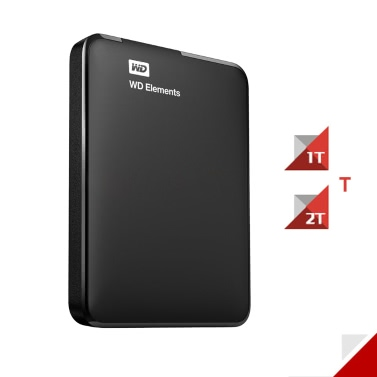 "Western Digital WD Elements 1TB USB 3.0 2.5"" Portable External Hard Drive WDBUZG0010BBK"