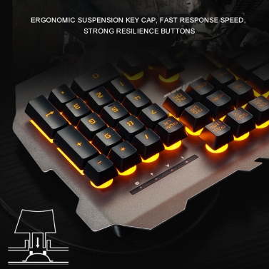AJAZZ USB Wired Gaming Mechanical Feel Keyboard Yellow Backlight Waterproof  Alloy Panel 104 Keys for Gaming Office Black