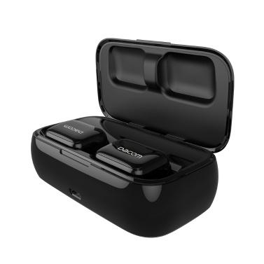 Dacom BT Kopfhörer Drahtlose Ohrhörer Stereo Sound Headset mit 2200 mAh Akku-Ladekoffer Wasserdichtes Rauschunterdrückungskopfhörer mit Sportohren Hängen (Schwarz)
