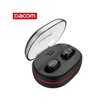 Dacom K6H Pro TWS BT5.0 Drahtlose Ohrhörer Mini In-Ear-Kopfhörer Stereo mit eingebautem HD-Mikrofon-Mikrofon und tragbarem Ladekoffer für iOS Android Windows (Schwarz)