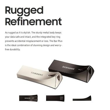 SAMSUNG 128GB USB3.1 U Disk Bar Plus 300MB/s High Speed Portable USB Flash Disk (Silver)