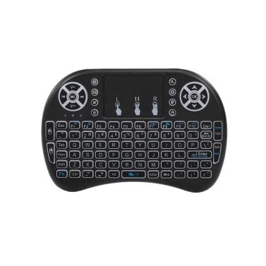 Air Mouse Teclado 2.4G Sem Fio RF Controle Remoto Retroiluminado Multimídia Touchpad Remoto Recarregável Combos Handheld Keyboard (Black)