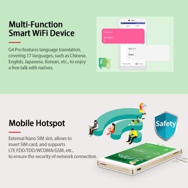 """GlocalMe G4 Pro LTE Mobiler Hotspot 5 """"Touchscreen Multifunktions-tragbares WLAN Weltweites Hochgeschwindigkeits-WLAN-Hotspot Keine Roaming-Gebühren für SIM-Karten Internationales Pocket-WLAN mit Übersetzungsfunktion Schwarz"""