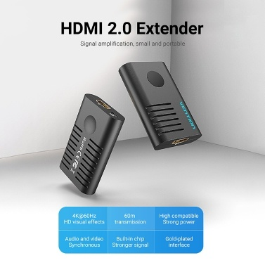 Vention AIEB0 HDMI 2.0 Extender Buchse zu Buchse 4K @ 60Hz Tragbarer Anschluss Repeater HDMI Signal Booster Verstärker 60m HDMI Kabelverlängerung