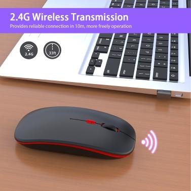M40 Ultradünne kabellose Maus 2.4G Wiederaufladbare kabellose stille Maus Ergonomisches Design 3 Einstellbare DPI Silber