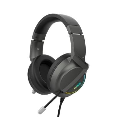 Ajazz AX365 7.1-Kanal-Surround-Gaming-Headset Geräuschunterdrückung Versenkbare MIC-Kopfhörer Kopfhörer Weiche Ohrmuscheln 50-mm-Treiber Schwarz