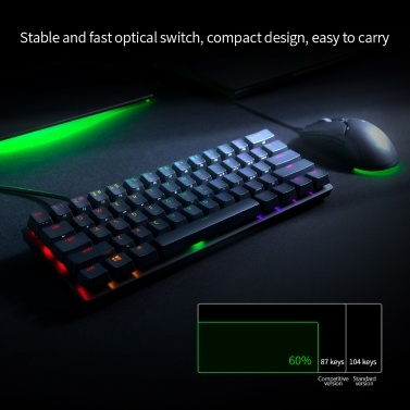 Razer Huntsman Mini Mechanische Tastatur Clicky Optischer Schalter 61 Tasten Kabelgebundene RGB-Tastatur für PC Laptop Schwarz